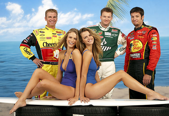 Little E just can't seem to stay away from SI's swimsuit models. Here he is pictured with Clint Bowyer, Martin Truex Jr., Julie Henderson and 2010 SI swimsuit cover girl Brooklyn Decker.
