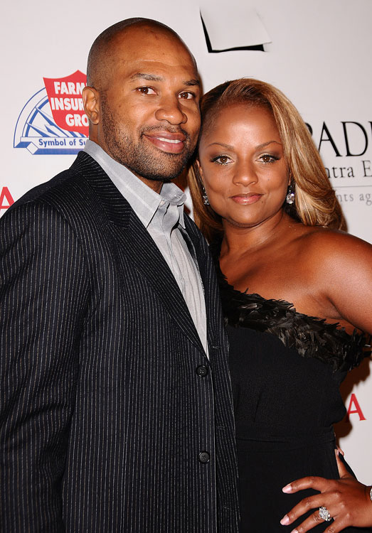 Lakers guard Derek Fisher and his wife got dolled up for a charity event in Hollywood.