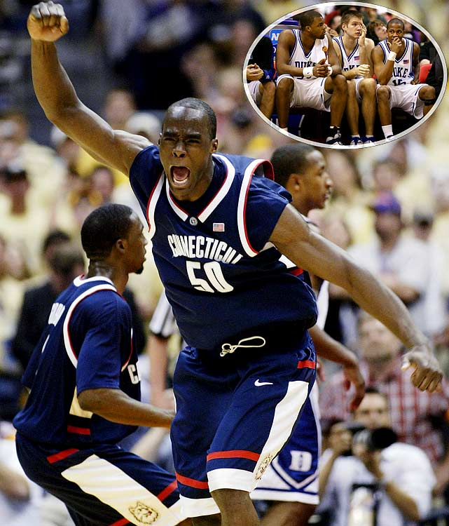 For a second straight year, the lone No. 1 seed in the Final Four fell in the semifinals. This time, Duke led eventual champion Connecticut for nearly the entire game, holding the Huskies' do-it-all center Emeka Okafor scoreless in the first half. But Okafor turned it on in the second half, finishing with 18 points and 7 rebounds. Duke star J.J. Redick went just 4-for-12 from the field. Send comments to siwriters@simail.com.