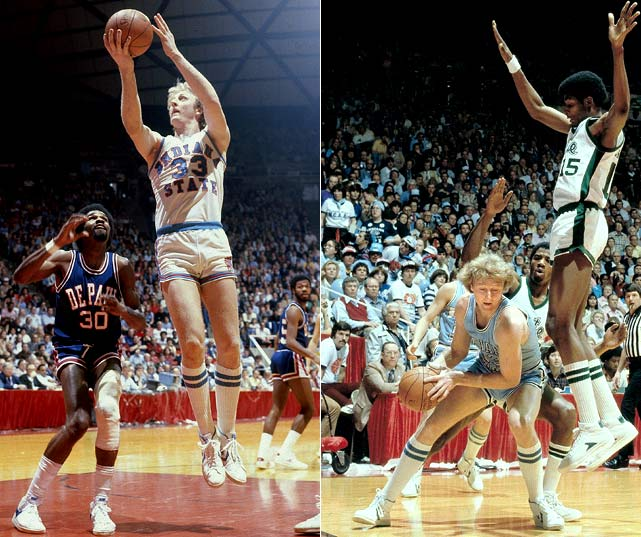 "Led by National Player of the Year and future Celtic Hall of Famer Larry Bird, Indiana State entered the 1979 Final Four with an undefeated record. But after edging out DePaul in the tournament semifinals (far left), the Sycamores fell to Michigan State and Earvin ""Magic"" Johnson in front of an estimated TV audience of 20 million."