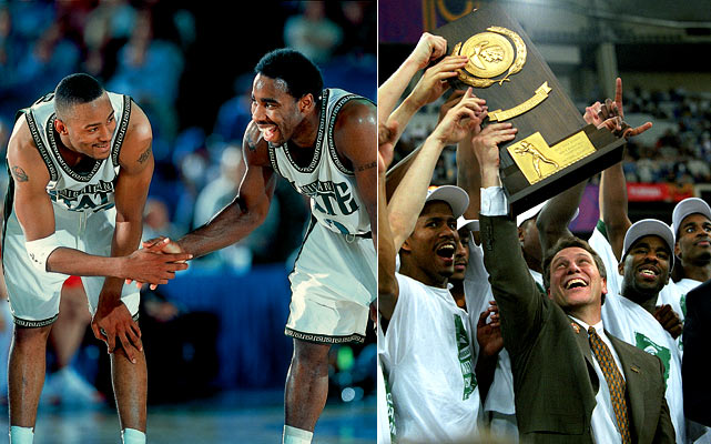 "The self-proclaimed ""Flint-stones"" of Michigan State roared into the 2000 Final Four having won three of their first four tournament games by double digits. The Spartans clashed with Big Ten rival Wisconsin, who surprised the nation by making the semifinals as an 8-seed. But MSU guards Mateen Cleaves and Morris Peterson proved to be too much for the Badgers, and the Spartans marched on to face Florida in the title game. Coach Tom Izzo's team held the Gators down, despite 27 from Florida's Udonis Haslem, and wrapped up a 89-76 championship win."