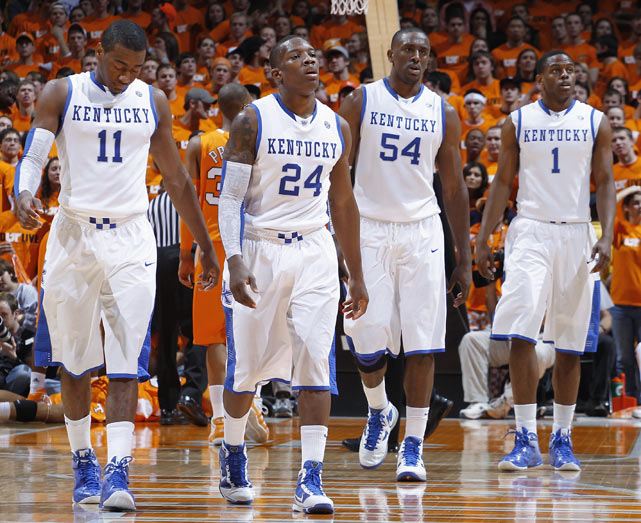 The nation's top recruiting class, led by Wall, Bledsoe and DeMarcus Cousins, helped jumpstart the stagnant Kentucky program. Joined by upperclassmen Patterson and Miller, the freshmen led Kentucky to an SEC title, a No. 1 seed in the NCAA tournament and the Elite Eight. But the Wildcats bowed out in the East Regional with a 73-66 loss to West Virginia.
