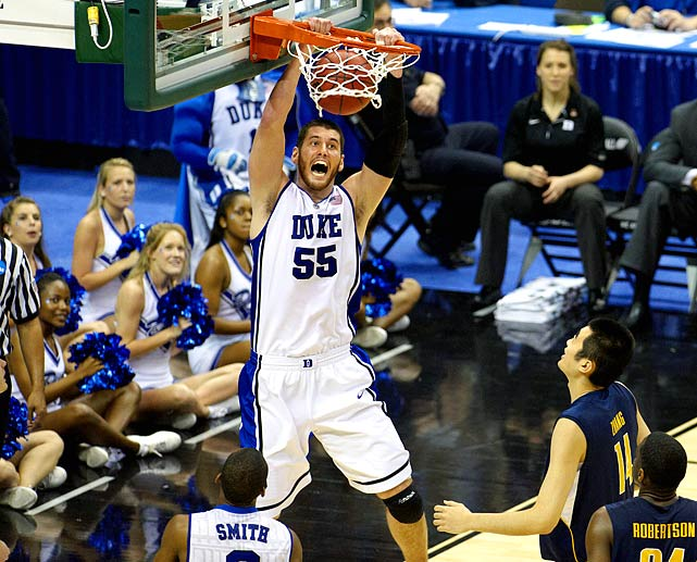Despite shooting just 3-of-17 from beyond the arc, Duke dominated Cal with low-post presence Brian Zoubek, who scored 14 points to go along with 13 boards, pushing Duke to Coach K's 19th regional semifinal.