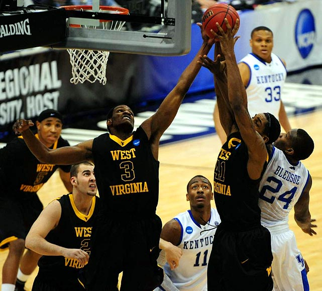 Billed as the tourney's toughest matchup to date, the Mountaineers outplayed Kentucky's talented trio of freshmen from the tip to reach their first Final Four since 1959.