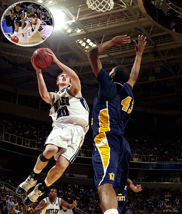 Butler's Gordon Hayward deflected a Racers' perimeter pass in the waning seconds to give the Bulldogs a berth in the Sweet16, edging Murray State 54-52.