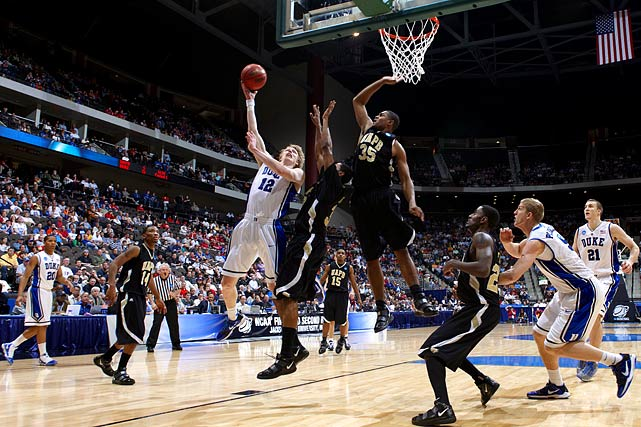 A look back at how each of the Final Four teams fared in their four tournament games thus far, beginning with Duke. Four Blue Devils scored in double digits while no player on the Golden Lions registered more than nine as Duke eased into round two in a blowout.