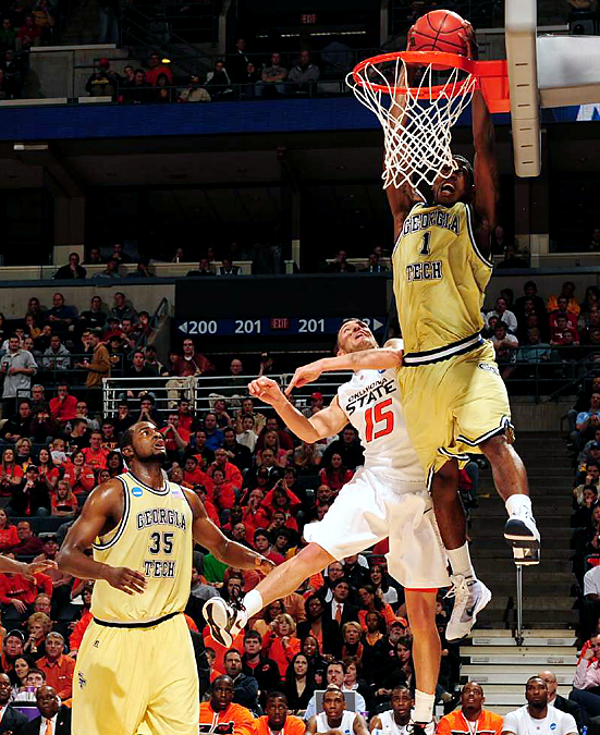 Iman Shumpert soared to get two of his nine points as tenth-seeded Georgia Tech ousted seventh-seeded Oklahoma State. The free throw-challenged Yellow Jackets scored their last 13 points -- and were 24-of-25 in the game -- from the line.