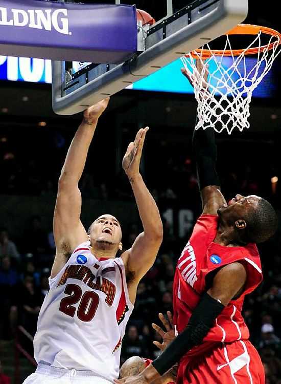 On a night when ACC player of the year Greivis Vasquez was having trouble scoring, Maryland turned to freshman forward Jordan Williams (No. 20). The freshman set career highs with 21 points and 17 rebounds as he powered the fourth-seeded Terrapins (24-8), who will face fifth-seeded Michigan State on Sunday.