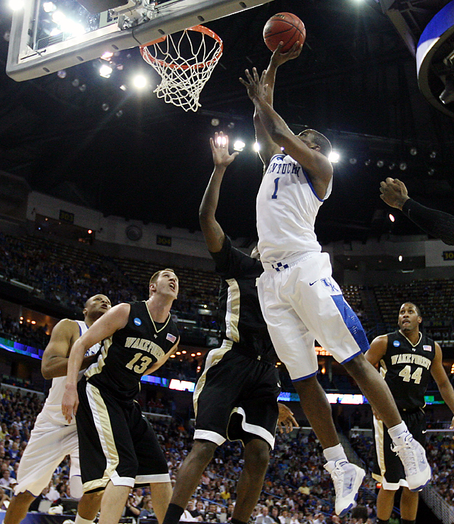 After winning their first-round game by 29, the Wildcats did one better, blowing out their ACC foe. Darius Miller (No. 1) scored a career-high 20 points to pace four in double figures for Kentucky, which will face the Cornell-Wisconsin winner.