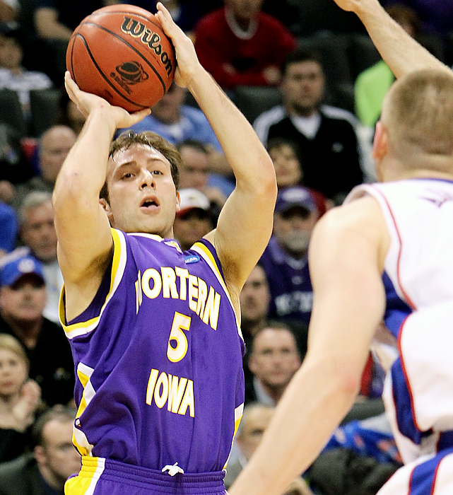 Ali Farokhmanesh (No. 5) hit another big 3-pointer with 34 seconds left and Northern Iowa (30-4) pulled off the biggest upset in the NCAA tournament, beating top overall seed Kansas. Ninth-seeded UNI become the first team to beat a No. 1 seed in the second round since UAB and Alabama did it to Kentucky and Stanford in 2004.