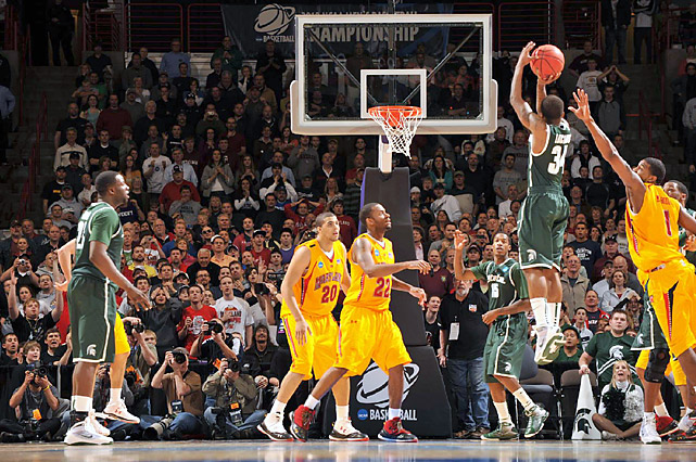 After star guard Kalin Lucas went down with a leg injury, the Spartans blew a 16-point lead in the second half. But Korie Lucious hit a 3-pointer at the buzzer (left) to cap a frenetic finish and send Michigan State into the Sweet 16.