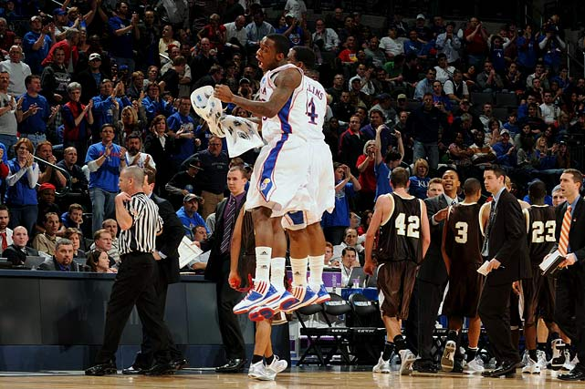 Tyshawn Taylor and Sherron Collins enjoying a moment of jubilation during a 90-74 win over Lehigh.