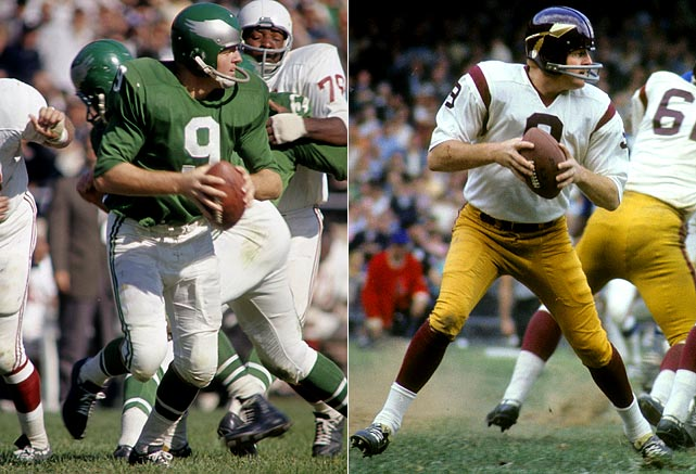 A prolific quarterback in Washington for 10 years, Jurgensen threw for more than 3,000 yards three times as a Redskin, leading the NFL in TD passes with 31 in 1967. That same year, he set league single-season records for completions (288) and attempts (508).