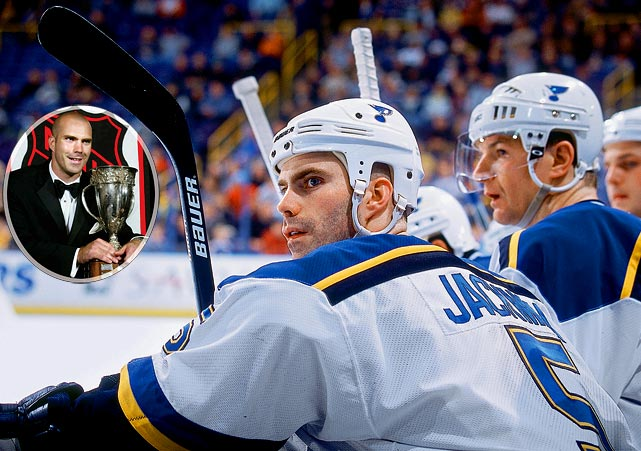 The first and only Calder-winner in Blues history, the defenseman -- a first-round (17th overall) pick in 1999 -- had a steady rookie season (82 games, 19 points,  23, rookie-best 190 PIM) that beat out Henrik Zetterberg of the Red Wings and Rick Nash of the Blue Jackets for the Calder. A dislocated shoulder shortened his sophomore season to 15 games and since then Jackman has been a fixture on the St. Louis blueline, but is rarely mentioned among the NHL's elite defensemen.