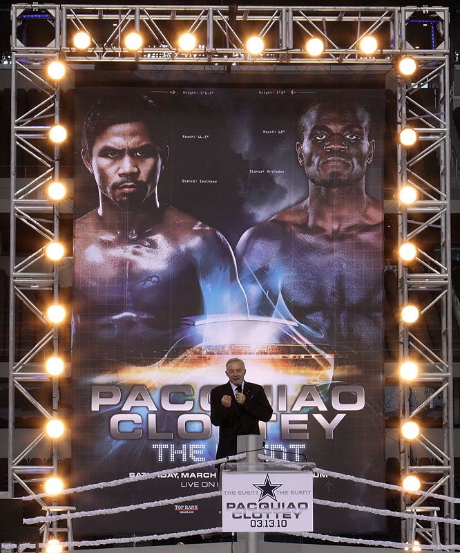 Cowboys Stadium will be configured to seat up to 45,000 spectators for the fight with elevated floor seating.