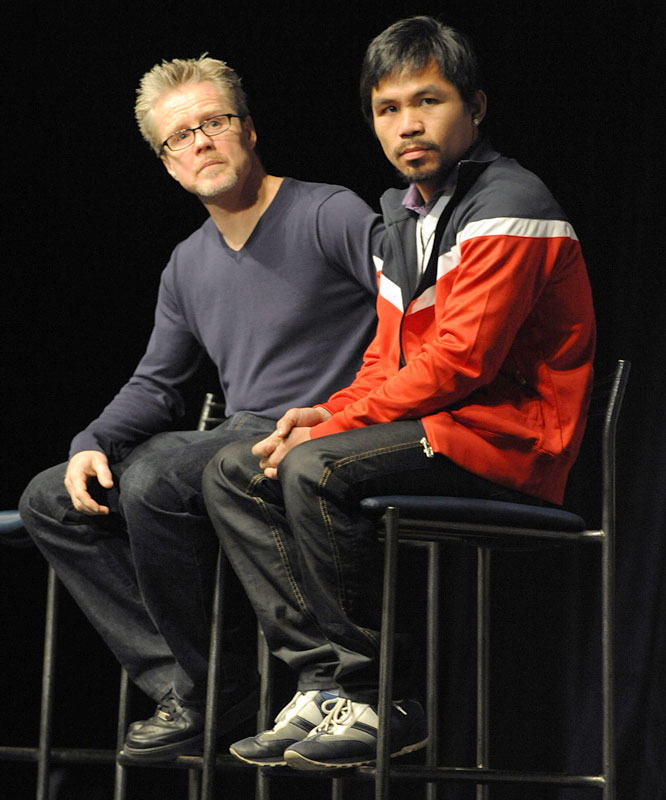 Pacquiao is entering the ninth year of a partnership with Freddie Roach (left), a four-time BWAA Trainer of the Year and one of most respected corner men in the sport.
