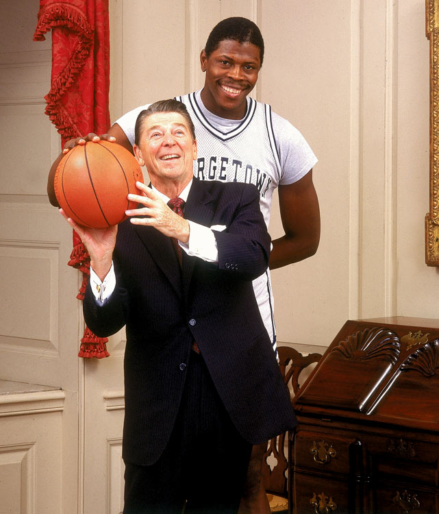 By the start of the 1984 season, Georgetown was the popular choice to win the championship and Ewing was the nation's top player. In this photo, he gives President Reagan a few shooting tips.