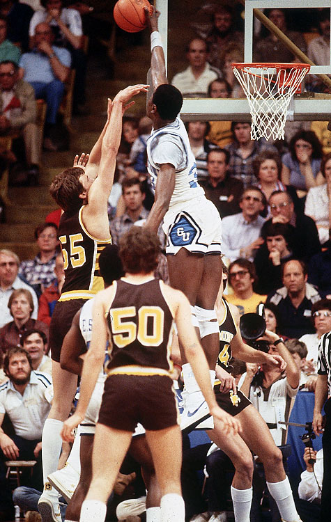 Ewing quickly earned a reputation as one of college basketball's top shot blockers. Over his four-year career, he compiled 493 blocks, an average of 3.4 per game.