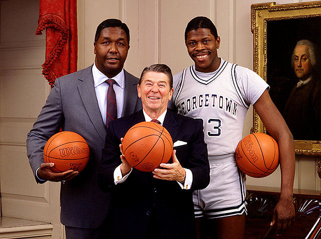Reagan, now confident in his shooting stroke, poses with Ewing and Georgetown coach John Thompson.