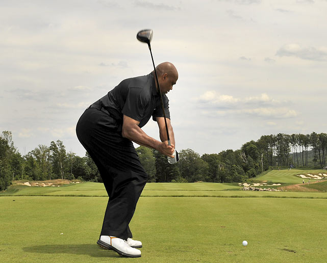 Barkley and his famously ugly golf shot at the Ford Wayne Gretzky Classic in Clarksburg, Ontario, Canada.