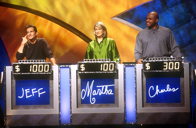 Barkley may be smarter than Martha Stewart, but he has a ways to go before he can match Jeff Probst. The three competed in Celebrity Jeopardy.
