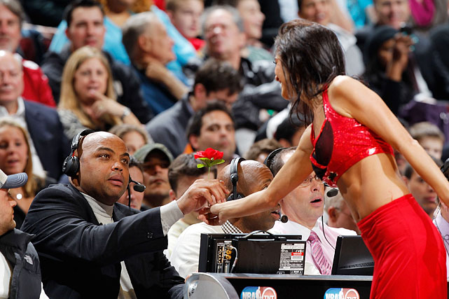 Barkley gives a Chicago Bulls Luvabull dancer a flower while broadcasting a game between the Bulls and the Miami Heat. Upon retiring from the NBA in 2000, Barkley quickly went into broadcasting, working as both a studio and color analyst for basketball games.