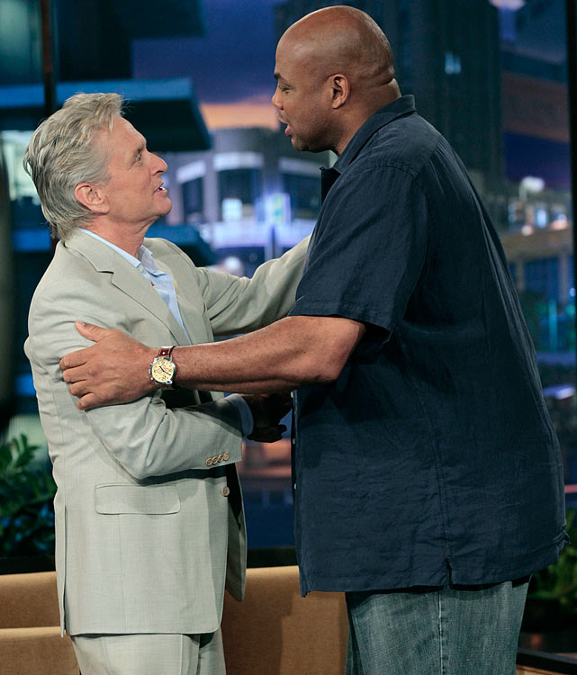 Barkley greets actor Michael Douglas on The Tonight Show with Jay Leno in May 2010.