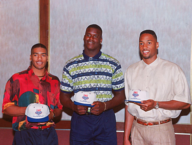 Jim Jackson , Shaquille O'Neal and Alonzo Mourning pose for a photo before the 1992 NBA Draft. O'Neal would be taken first overall, leaving the comfort of LSU for Orlando.
