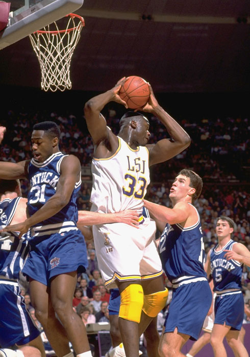 O'Neal pulls down a rebound in traffic during a 1992 game against Kentucky. Shaq left LSU with 1,217 career rebounds, seventh all-time in the SEC, second all-time at LSU.