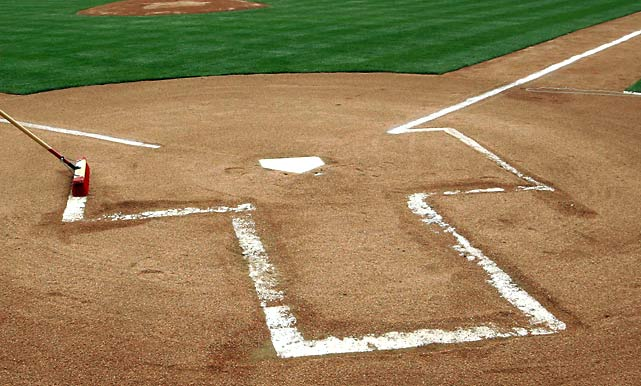 The line is drawn when Major League Baseball officially adopts the batter's box.