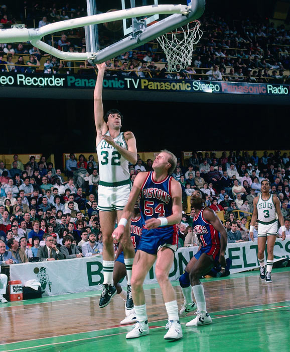 Boston's Kevin McHale connects on 22 of 28 field goal attempts and scores a team-record 56 points in a 138-129 victory over Detroit at Boston Garden.