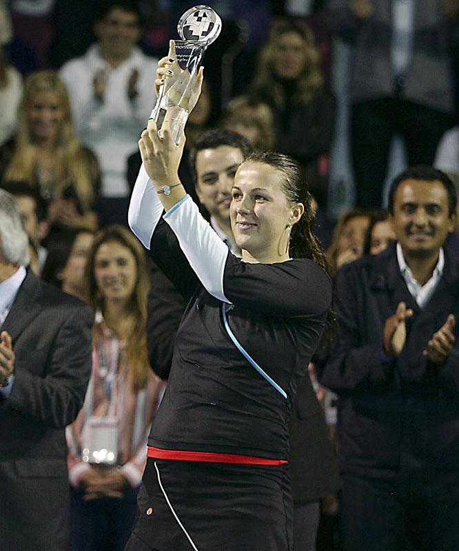 def. Daniela Hantuchova, 1-6, 6-1, 6-0 WTA International, Hard, $220,000 Monterrey, Mexico