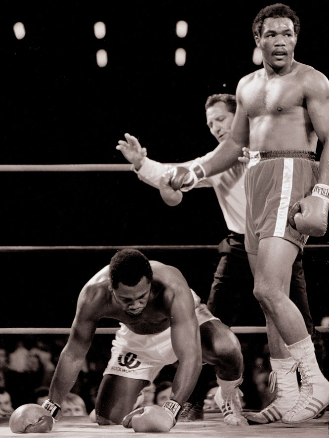 After Foreman floored Frazier a total of six times in the first two rounds of their heavyweight showdown in Jamaica, it was Mercante who put a stop to the action at 1:35 of the second.