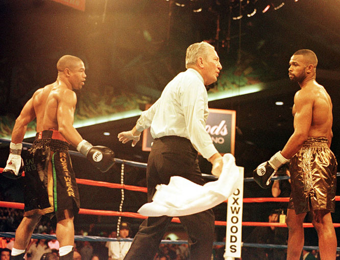 Mercante oversaw a number of bouts with Jones Jr. (right) -- the sport's pound-for-pound champion for most of the '90s -- including Jones' stoppage of Grant in Mashantucket, Conn.