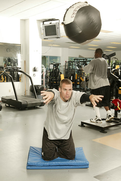Roethlisberger, pictured here working out at the Steelers practice facility, was taken with the 11th overall pick in the 2004 draft.