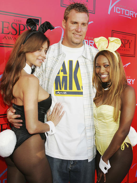 Rothlisberger poses with Playboy Playmates Ava Fabian and Nicole Narain at the 13th Annual ESPY pre-party at the Playboy Mansion in Beverly Hills.