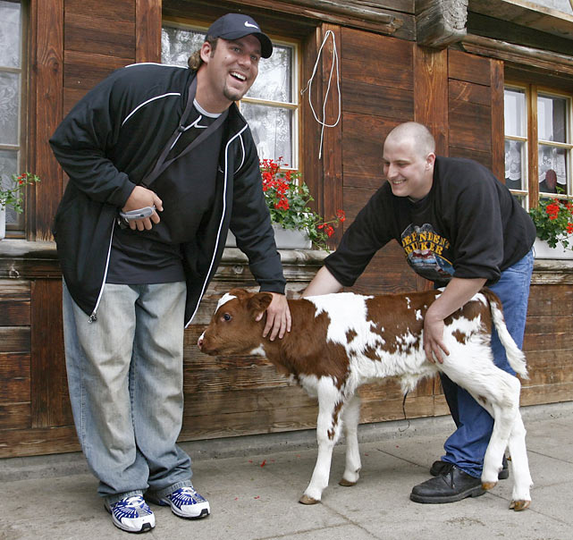 Roethlisberger pets a two-day-old calf during a trip to Switzerland. He would later name the calf Benita.