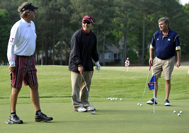Steve Spurrier (left), Jimbo Fisher (center) and Paul Johnson on the practice green.