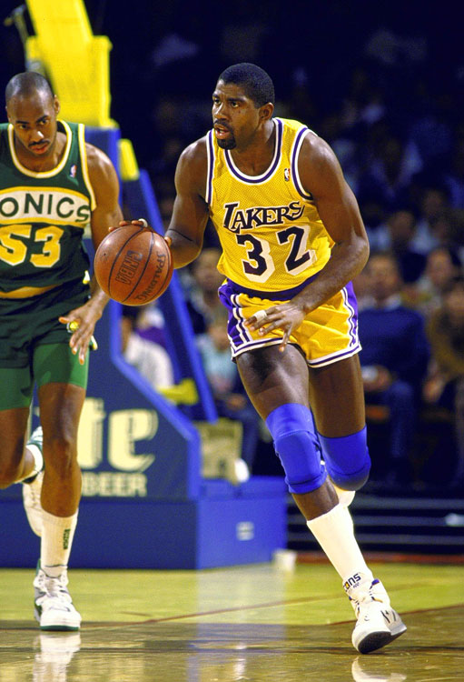 Johnson averaged 22.5 points, 12.8 assists and 7.9 rebounds per game during the 1988-89 season, winning the MVP while leading the Lakers to the NBA Finals. The next year, Magic's first without Kareem Abdul-Jabbar, he repeated as league MVP, barely wavering his statistical production: 22.3 points, 11.5 assists and 6.6 rebounds per game.