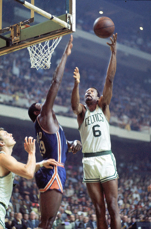 Over an eight-year span, Celtics center Bill Russell won five MVP awards. He won the award three years in a row starting in 1961. Though Wilt Chamberlain averaged 50.4 points per game and had his legendary 100-point game in 1962, Russell won the MVP after averaging a career-high 18.9 points per game and helping the Celtics became the first team to win 60 games in a season. Boston won the NBA title all three years of Russell's consecutive MVP wins.