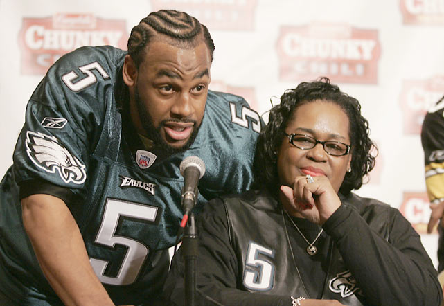 McNabb and his mother answer questions from the media during the Campbell's Chunky Soup Faceoff in Detroit.