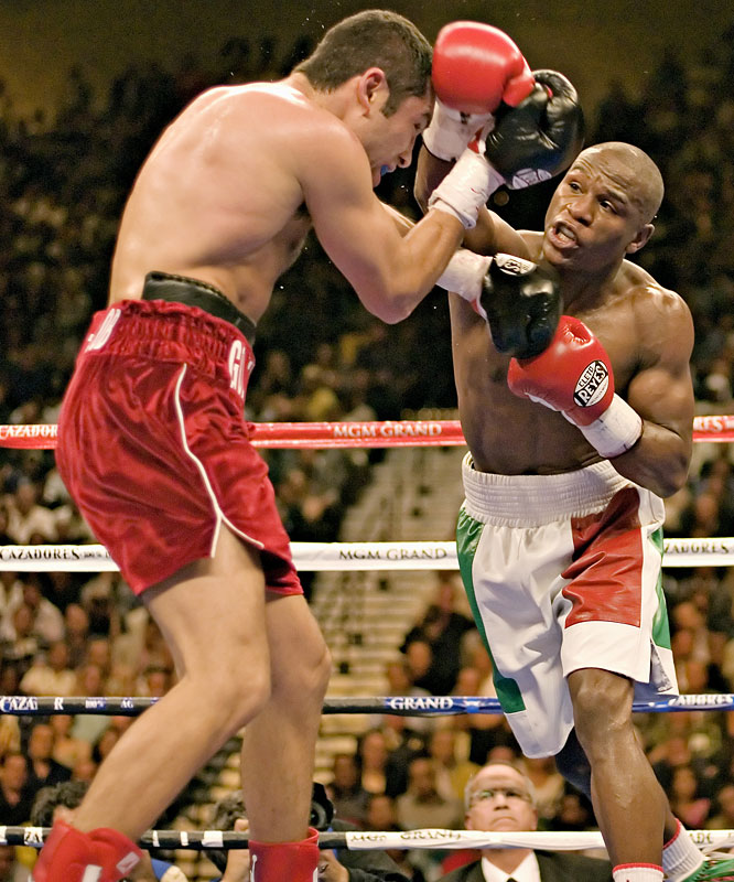 "Mayweather moved all the way up to 154 pounds for the long-anticipated superfight with De La Hoya. Billed by Sports Illustrated as ""The Fight To Save Boxing,"" Mayweather won a semi-controversial split decision. Both fighters were winners, however, at the bank: The fight shattered the record for pay-per-view buys with 2.7 million purchases (or nearly $120 million in revenue)."