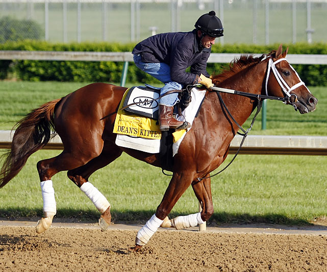 With 11 lifetime starts, Dean's Kitten is the most-raced horse in the 2010 Derby field, for owners Ken and Sarah Ramsey, who long for a Derby winner. However, just one of those 11 starts was on a dirt track, and in that race he finished fifth on a wet surface at Belmont Park in New York last October, more than 33 lengths behind Eskendereya. He scored a spot in the Derby by winning the March 27 Lance's End Stakes on a synthetic surface at Turfway Park in northern Kentucky, near Cincinnati.