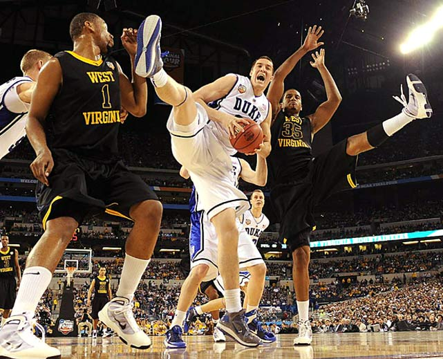 Duke forward Mason Plumlee grabs a rebound against West Virginia at the NCAA Final Four in Indianapolis. Plumlee had two rebounds and  two points in his team's 78-57 victory.