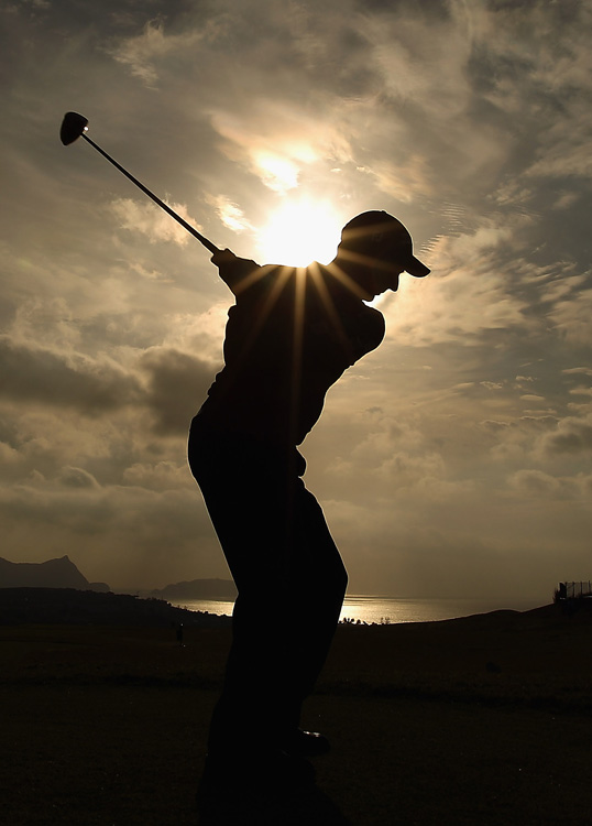 Marcus Higley of England tees off on the first hole of the second round at the Madeira Islands Open on April 9 in Porto Santo Island, Portugal.