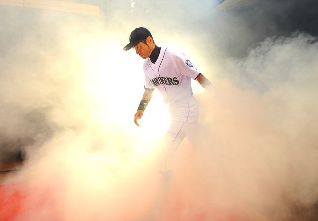 Rightfielder Ichiro Suzuki is introduced prior to the Seattle Mariners' home opener against the Oakland Athletics at Safeco Field in Seattle, WA, on April 12.