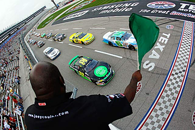 Nelson Piquet, the driver of the #6 Qualcomm-ESR Toyota, and Justin Marks in the #32 Construct Corps Toyota, lead the field at the start of the ARCA Racing Series Rattlesnake 150 at Texas Motor Speedway on April 16 in Fort Worth, Texas.