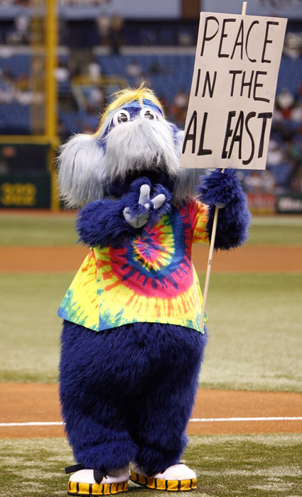 "A ""tipsy"" Red Sox fan has been arrested after allegedly choking the Tampa Bay Rays mascot during Tuesday's Red Sox-Rays game in St. Petersburg, according to Boston.com. The Rays employee who portrays ""Raymond"" in costume, did not press charges for battery. Police charged the fan with disorderly intoxication in a public place, according to the report. Here are the rest of Major League Baseball's official mascots."