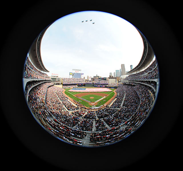 A unique view of the field from behind home plate.