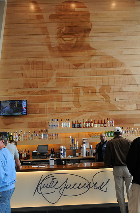 A two-story laser-burned wooden mural of Minnesota Twins legend Kirby Puckett is located in the Delta SKY360 Legend's Club as part of the Kirby Puckett Atrium.